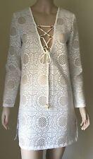 BLUE ISLAND Crochet Lace Swim Cover Up Sz S Swimsuit Bikini Tunic White