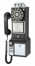 Vintage Telephone Pay Phone Retro 1950's Black Decor Rotary Dial Wall Mount Game