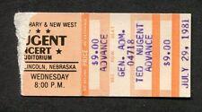 1981 Ted Nugent concert ticket stub Lincoln Nebraska Scream Dream