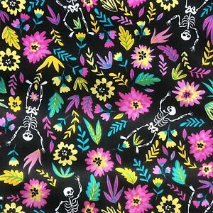 Black Gothic Skeleton Floral PolyCotton FABRIC Material Reduced Prices Craft