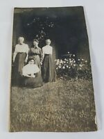 Vintage Real Photo Post Card 4 Ladies in the Front Yard Blank Back 1910's