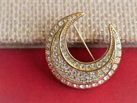 Joan Rivers Signed Crescent  Moon With Clear Rhinestone Vintage Brooch Pin