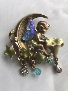 Kirks Folly Angels Wings On The Moon Brooch