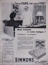 PUBLICITÉ 1956 MATELAS SIMMONS SAVOIR DORMIR REMÈDE POUR LA FATIGUE