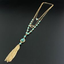 Gold Tassels Chains Necklace Hot Fashion Blue Turquoise Beads