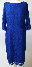 Coast Cobalt Blue Scoop Neck Trumpet Cuffs Netted Midi Fitted Dress UK 18 A319
