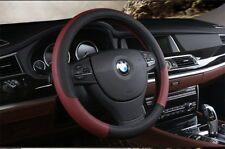Car Steering Wheel Cover Leather Black Wine Red for X1 X3 X5 X6 Motor 38cm/15''