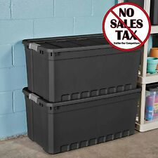 3PC PLASTIC STORAGE CONTAINERS LARGE BOX 50 GALLON STACKING CASE BLACK BIN BOXES