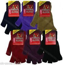 Womens Ladies Plain Hot Thermal Fingerless Knitted Winter Warm Half Gloves Black