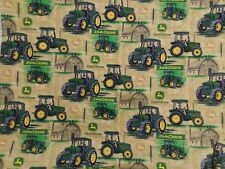 John Deere Fabric Brown Background Sold By The Yard