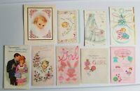 9 Vtg Greeting Cards Girl baby 60s lot Anthropomorphic Elephant Flowers PR