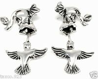 MOLINA TAXCO MEXICAN STERLING SILVER HUMMINGBIRD FLORAL FLOWER EARRINGS MEXICO