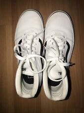 VANS sk8 hi - All white & Black - leather -High Tops Size 4.5