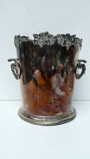 VINTAGE SILCRAFT SILVER PLATE GRAPEVINE DECORATED COPPER MOUNT CHAMPAGNE BUCKET