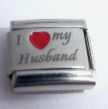 I LOVE MY HUSBAND Italian Charm - Red Heart 9mm fits Classic Starter Bracelets