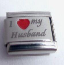 I LOVE MY HUSBAND Italian Charm - Red Heart 9mm fits Classic Starter Bracelets