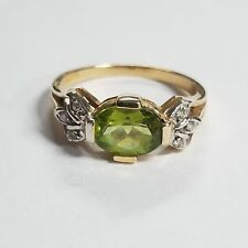 14k Yellow Gold Green Gemstone Ring Size 8.75 Jewelry KM-PER3D