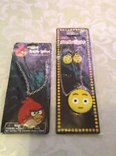 Angry Bird charm necklace red Emoji jewelry set lot earrings yellow girls