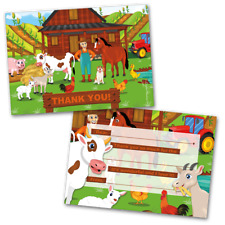 10 Kids Thank You Cards Farm Themed and 10 Envelopes