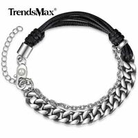 8mm Men Curb Cuban Link Bracelet Adjustable Stainless Steel Chain Leather Bangle