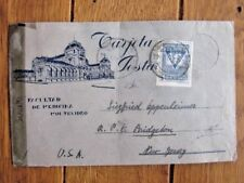 WW2 URUGUAY 1944 ILLUSTRATED SMALL CENSORED COVER PALACIO LEGISLATIVO ON BACK