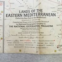 Vintage Lands of the Eastern Mediterranean Map National Geographic January 1959