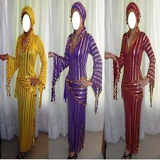 Egyptian Belly Dance Baladi Saidi Galabeya Dress Costum + 2 SCARVES NEW/62 SMSMA