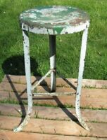 "Old 3 Leg Industrial Metal Stool Seat Repair Shop Gas Station Factory 24"" Tall"