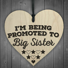 Red Ocean Being Promoted to Big Sister Wooden Hanging Heart Plaque Baby Shower