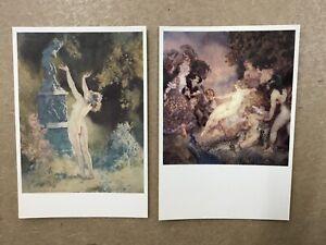 Norman Lindsay - postcard pair 1x 'garden god' 1x 'court of venus'
