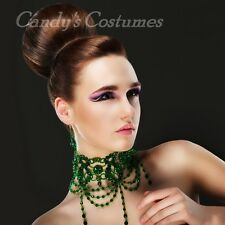 Grand VICTORIAN Crystal CHOKER Jade EMERALD Green GLASS Bead NECKLACE Steampunk