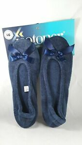 Isotoner Terry Ballerina Navy Large  (8-9) NEW MSRP $26