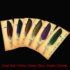 1 Set Vintage Feather Dip Fountain Pens Quill Oblique Pens with 5pcs Nib Gift