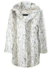 MISS SELFRIDGE SIZE 10-12 FAUX FUR SNOW LEOPARD PRINT WOMENS JACKET LADIES COAT