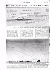 1917 ANTIQUE PRINT - WW1- AIR RAID OVER LONDON, , HOW THEY CAME AND WENT
