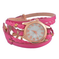 NEW Weave Wrap Around Leather Bracelet Quartz Wrist Watch Fashion Girl Women PS