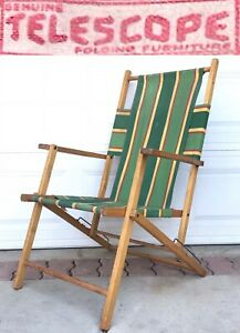 Vintage Mid Century Telescope Folding Furniture Wood Arm Chair Lounge Outdoor