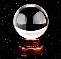 FengShui Clear Glass Crystal Ball with Wood Stand Paperweight Gift Home Decor