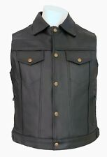 DRIFTER LEATHER JEAN BIKER VEST Size: 6XL - DRT