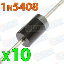 Diodo rectificador 1N5408 3A 1000v - Lote 10 unidades - Arduino Electronica DIY