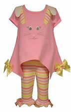 Bonnie Jean Little Girls Spring Holiday Easter Bunny Pink Capris Set 4 5 6 6X