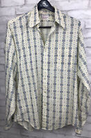 Vintage 1970's Men's Country Hipster Cross Stitch Print Button Down Shirt Tall L