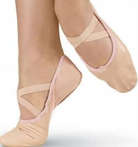 Pink Ballet Dance Leather Shoes Full Sole Sizes Crossed Elastics