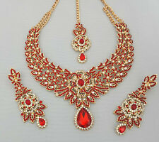Indian Bollywood Gold Red Crystal Jewellery set inc Necklace Earring and Tikka