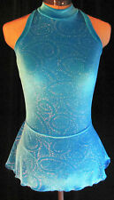 TURQUOISE BLUE Ice Skating Competition Dress / GIRLS MEDIUM 8 / 9 / 10