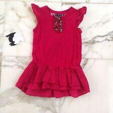 Gap Girls Ruffle Dress 18-24 Months Pink Flower Flutter Sleeve Baby Gap