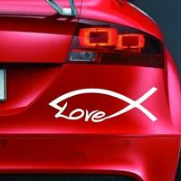 CHRISTIAN LOVE FISH Sticker Funny Car Window Bumper JDM Novelty Vinyl Decal