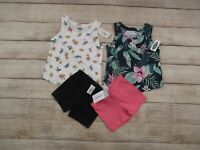 Old Navy Carter's Baby Girls 4 Piece Clothing Lot Size 6 Months Tops Shorts Outf
