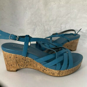 St. John's Bay-80's Vintage, Teal, Faux Leather, Strappy, Wedge Sandal. Size-7M