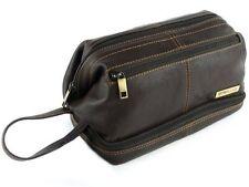 Mens Rowallan Brown Leather Top Frame Wash Bag Travel Toiletries Travel Stylish